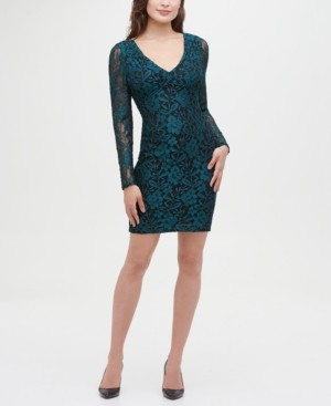GUESS Lace Long Sleeve Body Con Dress