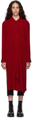 Y's Ys Red Drape Shirt Dress