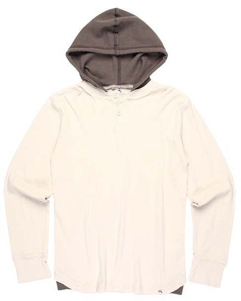 Appaman Kids - Button Front Thermal Hooded Henley (Little Kids/Bigs Kids) (Pebble) - Apparel