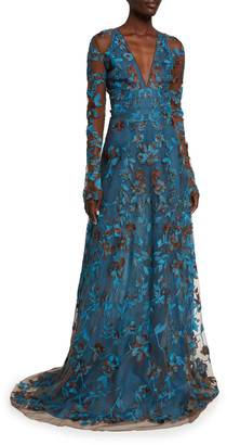 Naeem Khan Long-Sleeve Embroidered Floral A-Line Gown