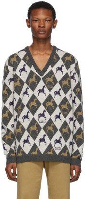 Gucci Beige and Grey Horse Jacquard Knit Sweater
