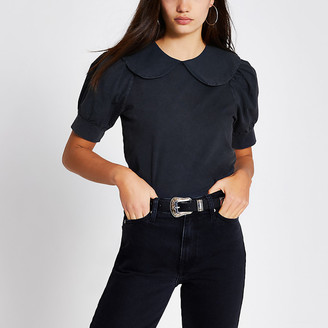River Island Black short puff sleeve collar T-shirt