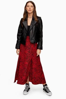 Topshop Womens Tall Red Spot Double Split Midi Skirt - Red