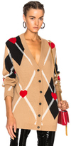 MSGM Argyle Cardigan in Abstract,Neutrals.