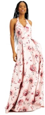 City Studios Juniors' Halter Floral-Print Gown, Created for Macy's