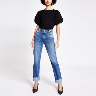 River Island Womens Blue straight super high rise jeans
