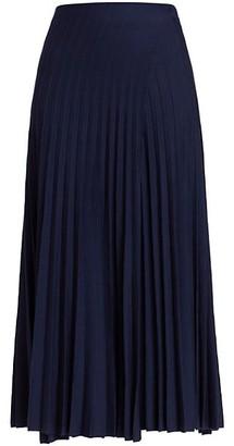 Agnona Knit Pleated Wool-Blend Midi Skirt