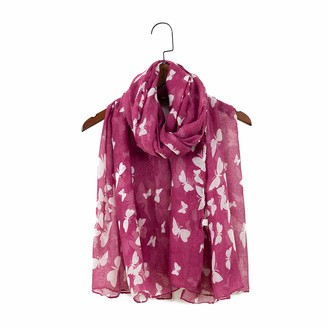"London scarfs Women""s fashion Butterfly Print Long Scarves floral Neck Scarf Shawl (Maroon)"