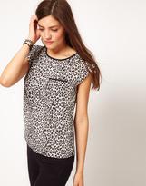 Oasis Leopard Print Roll Sleeve Top