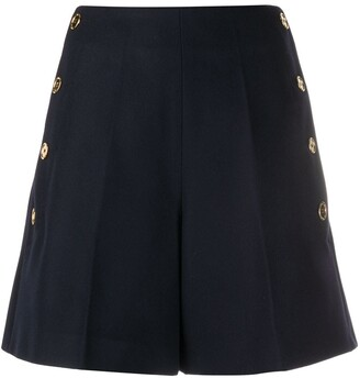 Patou High-Waisted Side Button Shorts