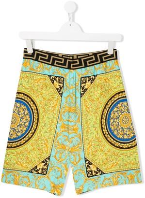 Versace TEEN Barocco-print track shorts