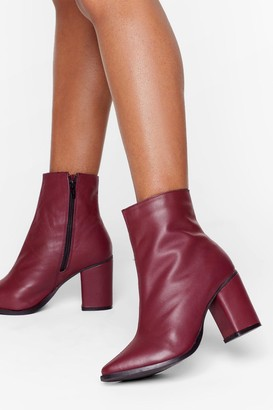 Nasty Gal Womens Leather You Like It Heeled Ankle Boots - Red - 3