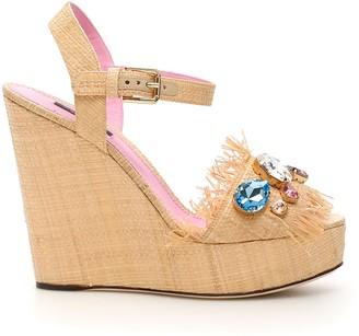 Dolce & Gabbana Bianca Wedge Sandals In Tropea Straw