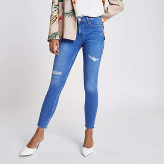 River Island Womens Petite Blue Amelie super skinny ripped jeans
