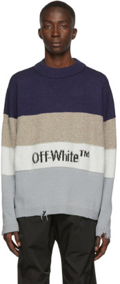 Off-White Blue and Black Logo Sweater
