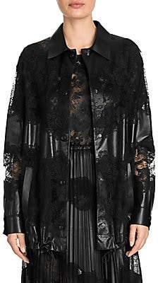 Valentino Women's Lace & Leather Bomber Jacket
