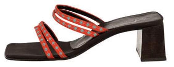 Giuseppe Zanotti Woven Slide Sandals Orange Woven Slide Sandals
