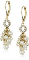 "Anne Klein Shake It Up"" Gold-Tone, White Pearl and Crystal Cluster Leverback Drop Earrings"