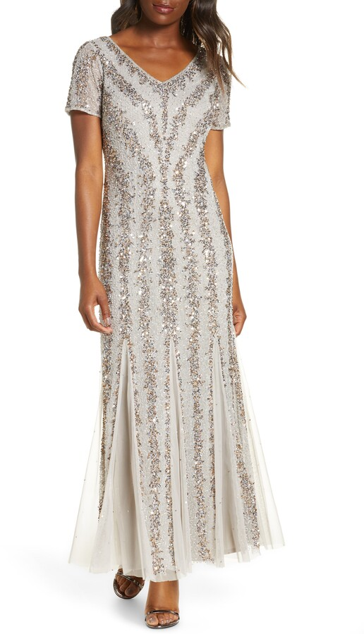 Pisarro Nights Beaded Mesh V-Neck Gown