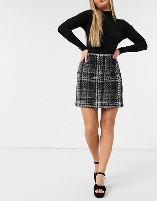 Forever New boucle mini skirt in monochrome check