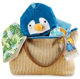 Baby Aspen Size 0-6M 4-Piece Tropical Gift Set with Raffia Tote in Blue/Grey