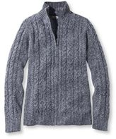 L.L. Bean Women's Double L Mixed-Cable Sweater, Zip-Front Cardigan Marled