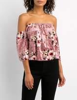 Charlotte Russe Floral Velvet Ruffle Off-The-Shoulder Top