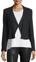 Halston Wool-Blend Suiting Combo Jacket, Black