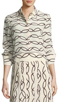 Tory Burch Erica Printed Silk Button-Down Blouse