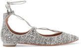Aquazzura Christy Leather-trimmed Metallic Bouclé Point-toe Flats - Gray