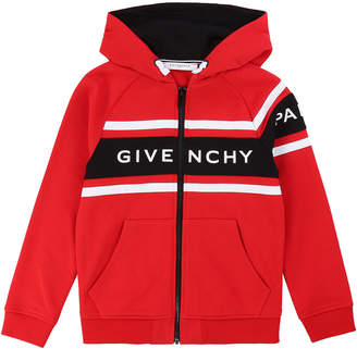 Givenchy Boy's Logo Mini Me Hooded Zip-Front Cardigan, Size 6-10