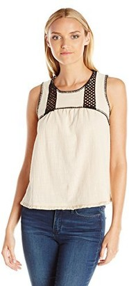 Blu Pepper Women's Sleeveless Top with Raw Fray Hem and Stitch