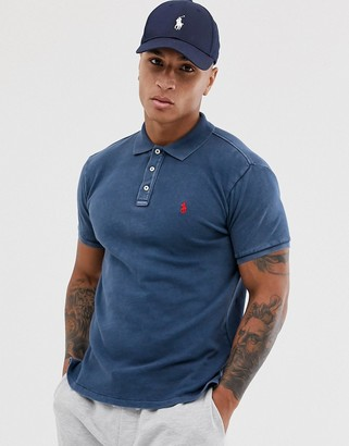 Polo Ralph Lauren player logo towelling polo in navy