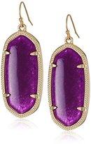 "Kendra Scott Signature"" Elle Gold plated Purple Jade Drop Earrings"
