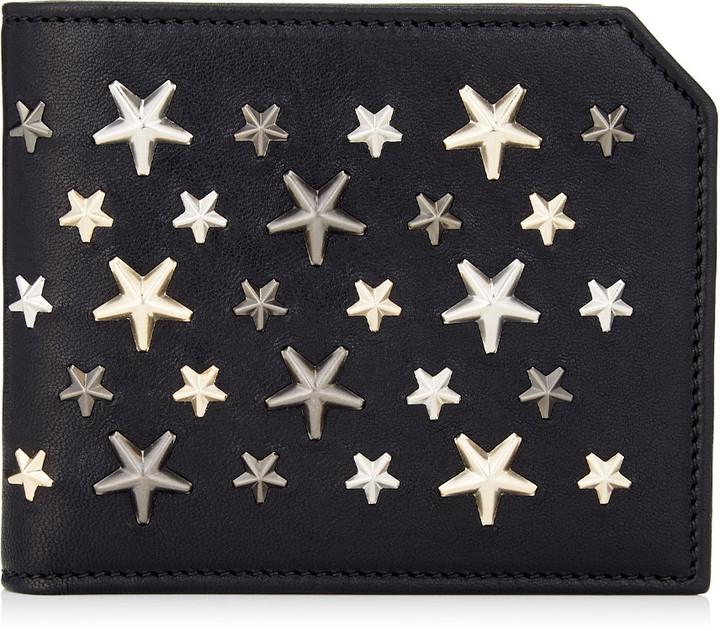 Jimmy Choo ALBANY Black Leather Bi-Fold Wallet with Metallic Mix Stars