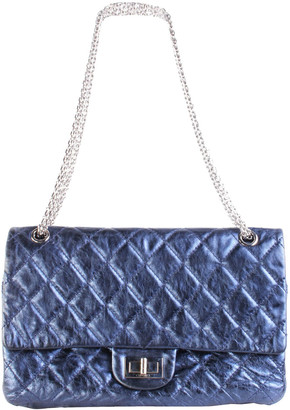Chanel Metallic Navy Quilted Leather 2.55 Flap Bag Bag