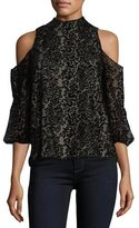 Alice + Olivia Hallie Cold-Shoulder Velvet Devoré Halter Top