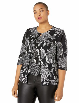 Alex Evenings Women's Plus Size Printed Twinset with Hook Neck Closure