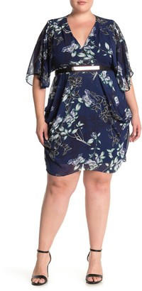 City Chic Floral Belted Flutter Sleeve Dress (Plus Size)