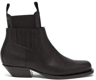 MM6 MAISON MARGIELA Square Toe Western Leather Ankle Boots - Womens - Black