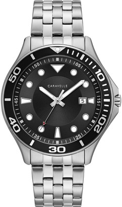 Caravelle Caravelleby Bulova Men's Stainless Black Dial Watch
