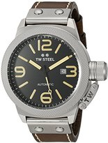 TW Steel Unisex CS36 Canteen Leather Automatic with Black Dial Analogue Display and Brown Leather Strap, Watch