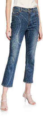 Escada J657 Paisley-Print Jeans