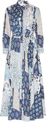 Oscar de la Renta Patchwork Cotton-Blend Midi Dress