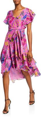 Tanya Taylor Dita Printed Short-Sleeve Wrap Dress