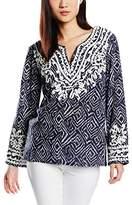 Deby Debo Women's Printed Long Sleeve Blouse - Blue -