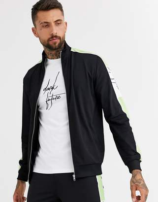 Asos Design DESIGN co-ord track jacket in polytricot in black with dark future logo & mint side stripe