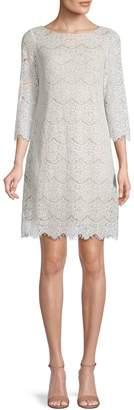 Eliza J Three-Quarter-Sleeve Lace Shift Dress
