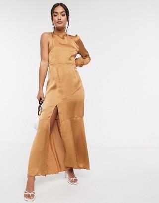 Liquorish one sleeve drop hem dress in camel