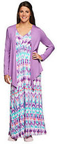 Carole Hochman Abstract Ikat Knit Jersey Gown and Jacket Set